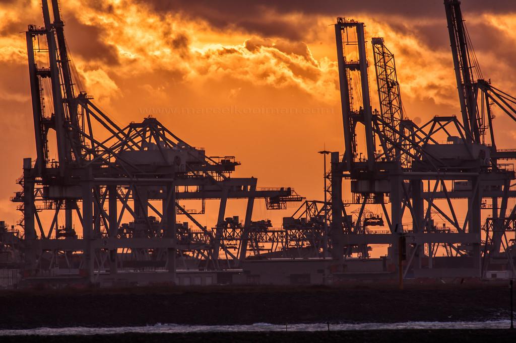illustratie: zonsondergang, nieuwe waterweg, hoek van holland, scheepvaart