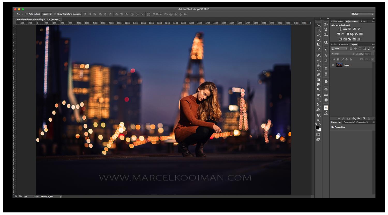 Illustratie: Rotterdam, avondfotografie, model, langhaar, bokeh, 85mm f1,2, Canon 5D Mk III