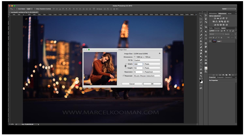 Illustratie: verklein de foto, photoshop, Ctrl+Alt+I, schaal het beeld naar 1080px